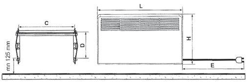 Габаритные размеры конвекторов Ensto